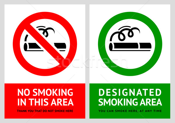 No smoking and Smoking area labels - Set 11 Stock photo © Ecelop