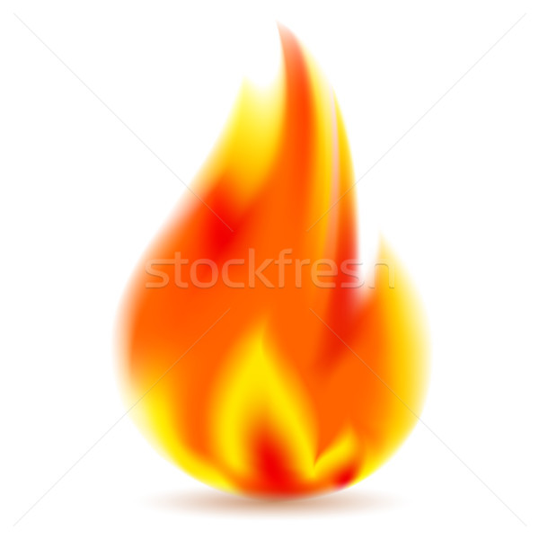 Fire, bright flame on white background Stock photo © Ecelop