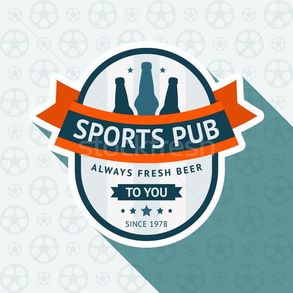 Voetbal pub badge 10 eps Blauw Stockfoto © Ecelop