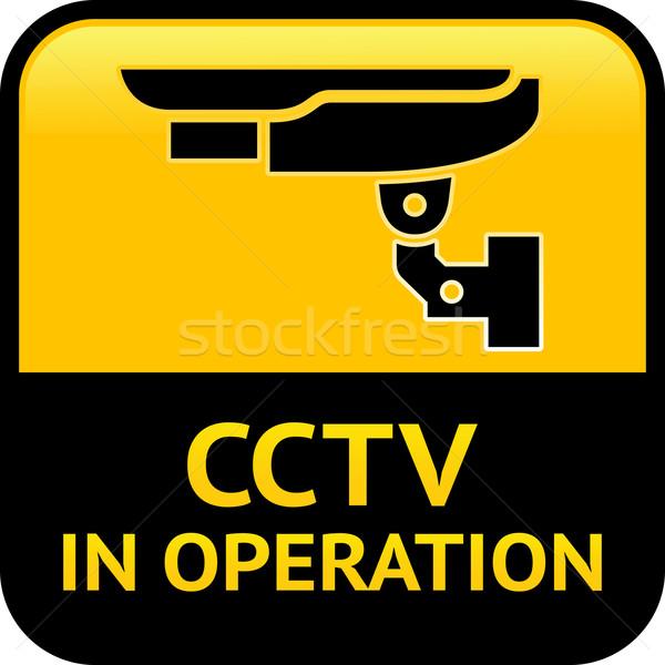 Cctv aviso pictograma adesivo segurança alarme Foto stock © Ecelop