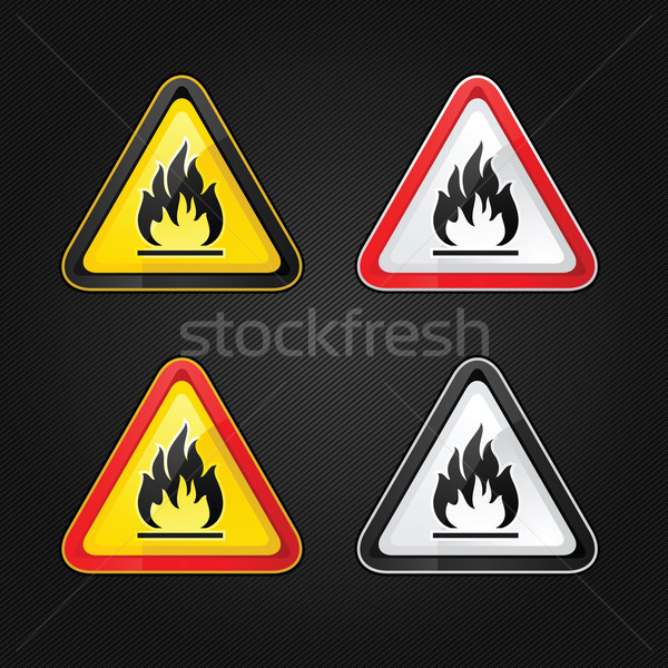 Hazard warning triangle highly flammable warning set sign Stock photo © Ecelop
