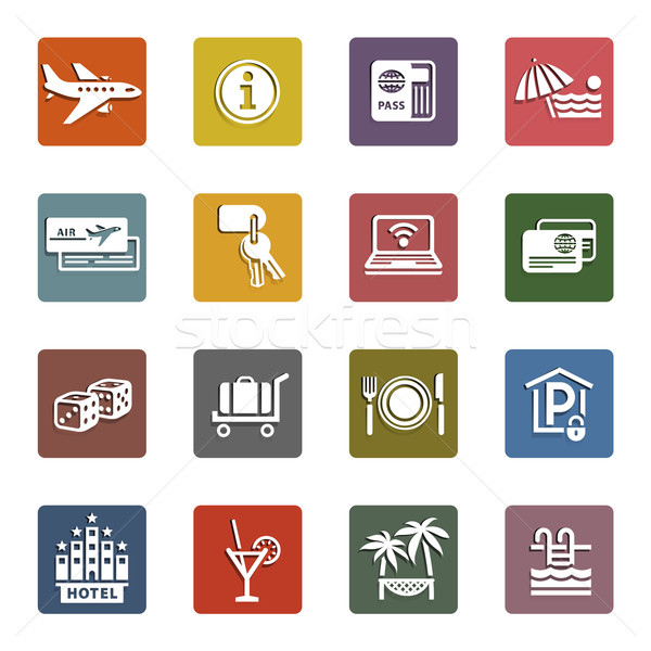 Recreation, Travel & Vacation, icons set Stock photo © Ecelop