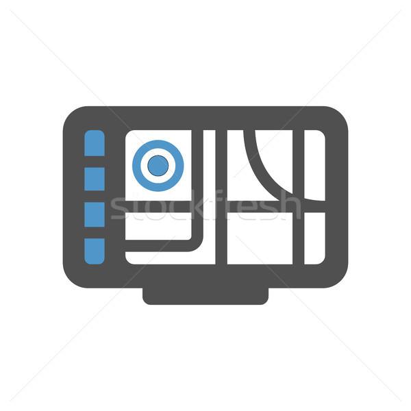 GPS ikona szary niebieski odizolowany biały Zdjęcia stock © Ecelop