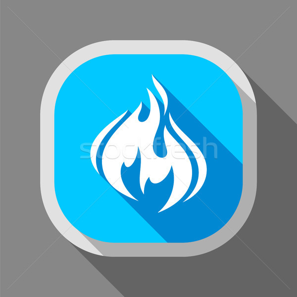огня икона квадратный кнопки пламени тень Сток-фото © Ecelop