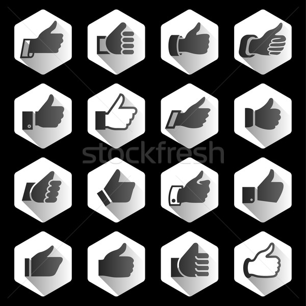 Like, set black icons on rounded hexagon Stock photo © Ecelop