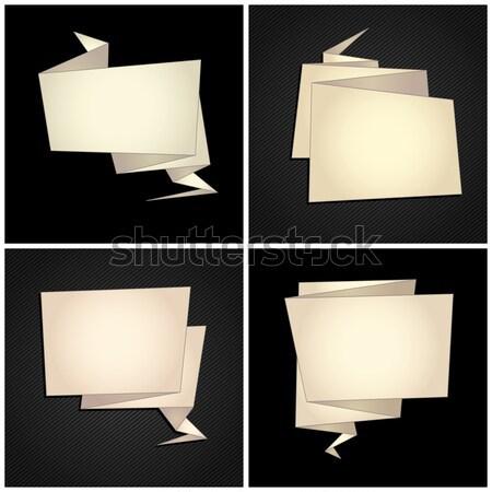 Origami ingesteld gevouwen papier tekstballon abstract Stockfoto © Ecelop