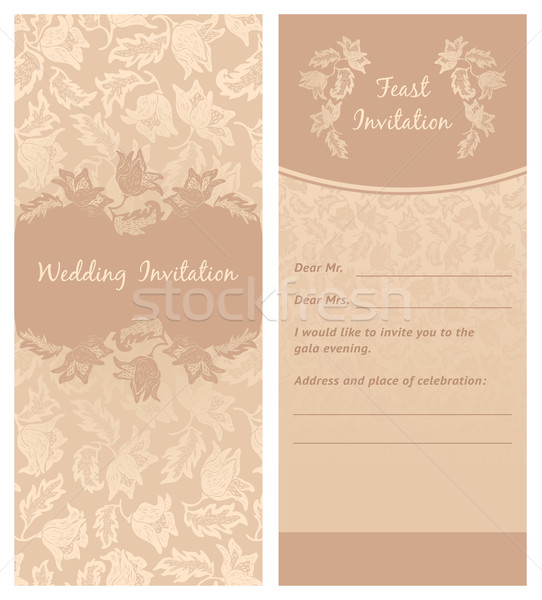 wedding invitation, flowers ornament, background Stock photo © Ecelop
