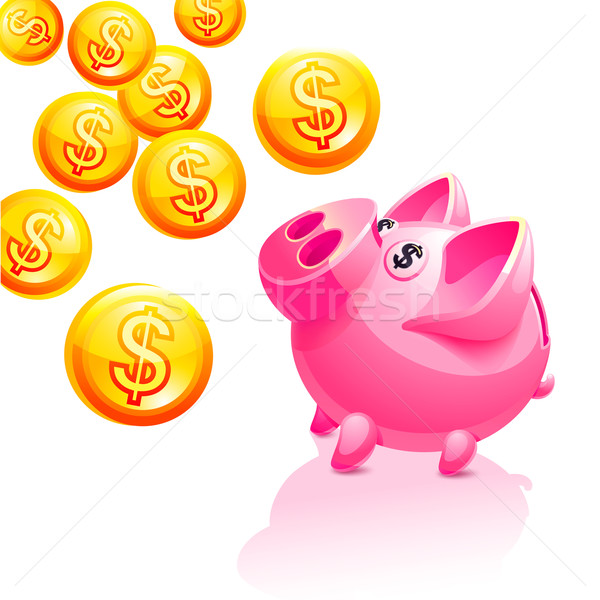 Piggy bank illustration. Vector icon. Pink Stock photo © Ecelop