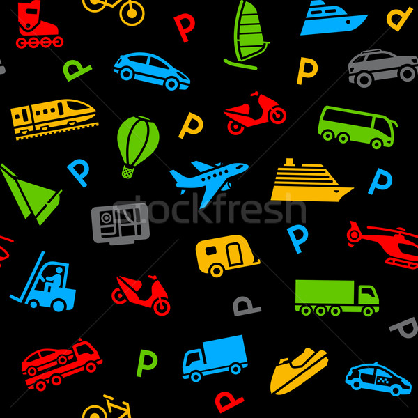 Seamless background, colors icons transport Stock photo © Ecelop