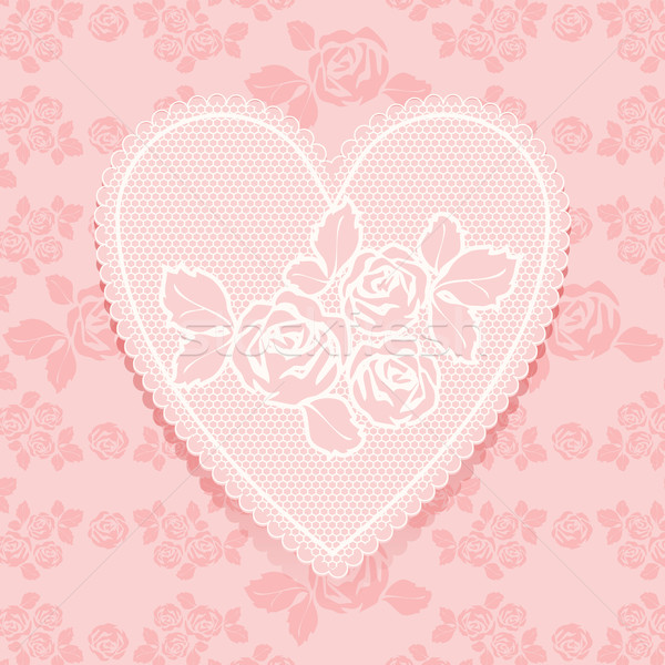 Lace pink in heart shape Stock photo © Ecelop
