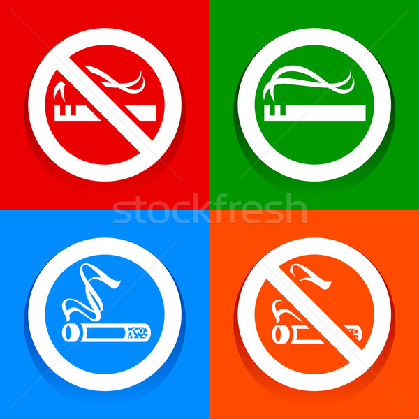 Stickers multicolored. No smoking area labels Stock photo © Ecelop