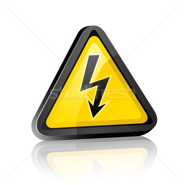 ハザード 高電圧 シンボル 白 反射 ストックフォト © Ecelop