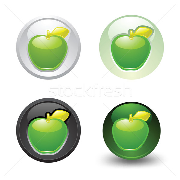Vert pomme bouton web 20 Photo stock © Ecelop