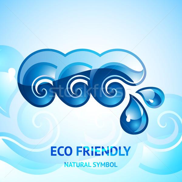 Su doğal mavi imzalamak amblem logo tasarımı Stok fotoğraf © Ecelop