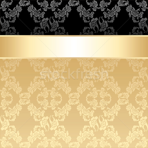 Seamless pattern, floral decorative background, gold ribbon Stock photo © Ecelop