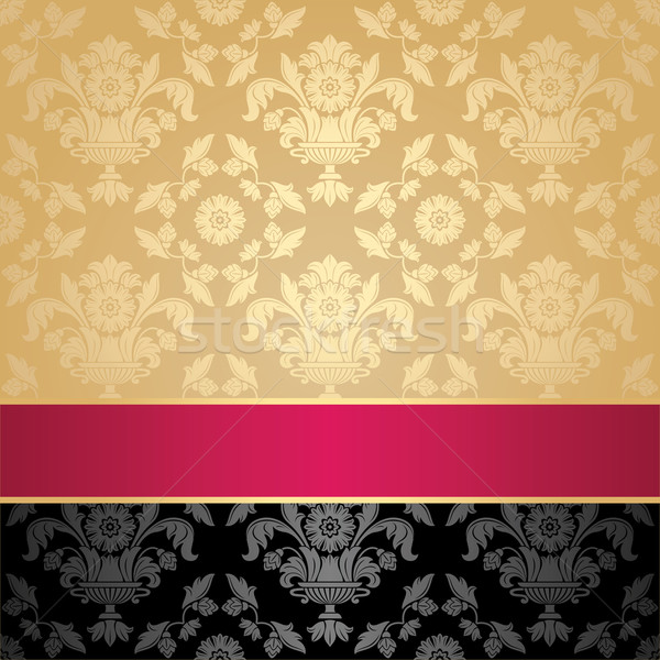 Seamless pattern, floral decorative background, pink ribbon Stock photo © Ecelop
