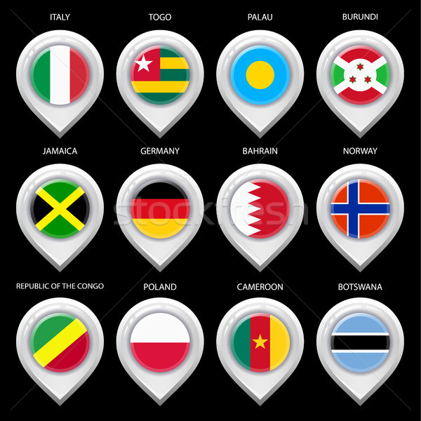 Map marker with flag-set seventh Stock photo © Ecelop