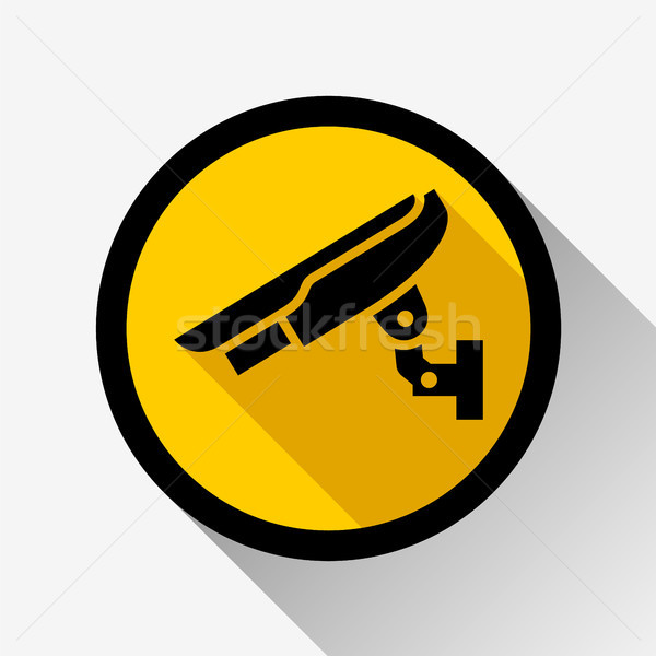 Vídeo observação ícone amarelo círculo abstrato Foto stock © Ecelop