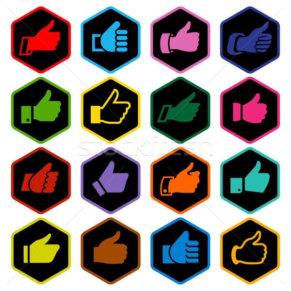 Like, set colored icons on rounded hexagon Stock photo © Ecelop