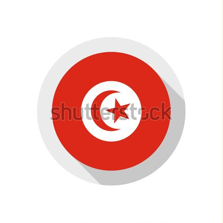 Bandeira Tunísia assinar viajar país botão Foto stock © Ecelop