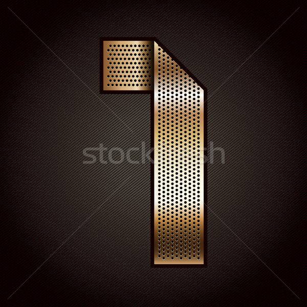 Number metal gold ribbon - 1 - one Stock photo © Ecelop