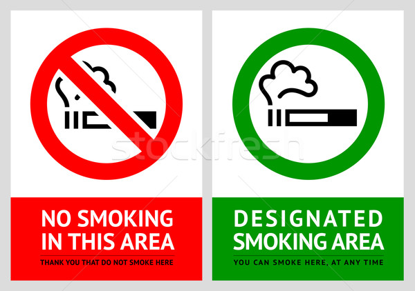Stock photo: No smoking and Smoking area labels - Set 10