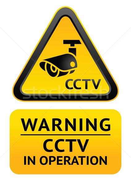 видео наблюдение символ предупреждение наклейку Сток-фото © Ecelop