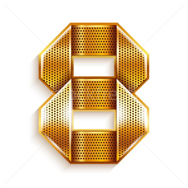 Numero metal oro nastro otto arabic Foto d'archivio © Ecelop