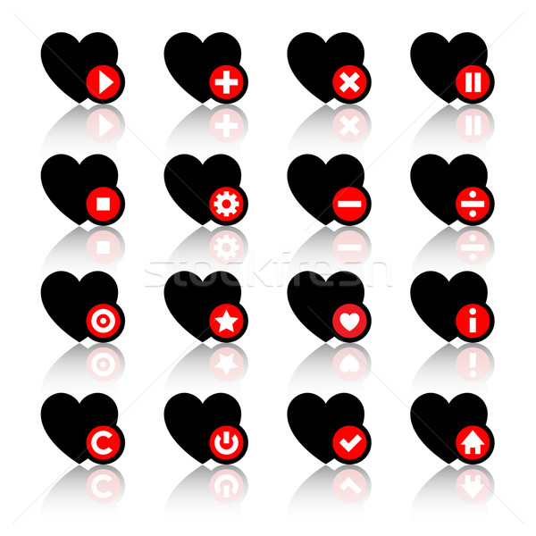 Icons set - black hearts and red buttons Stock photo © Ecelop