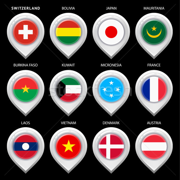 Map marker with flag-set first Stock photo © Ecelop