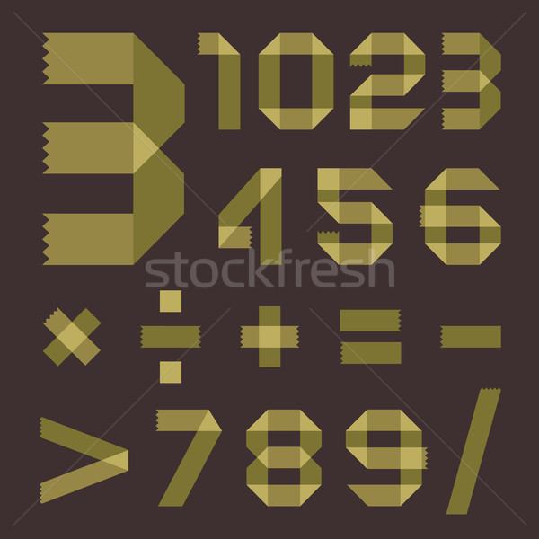 Stock photo: Font from greenish scotch tape - Arabic numerals