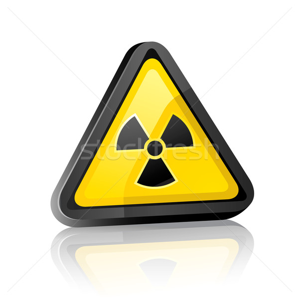 Three-dimensional Hazard warning sign with radiation symbol on white background with reflection Stock photo © Ecelop
