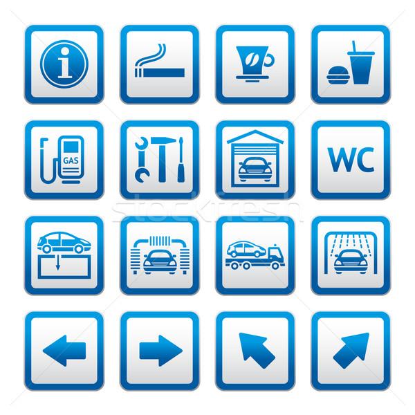 Establecer pictogramas coche servicios gasolinera símbolos Foto stock © Ecelop