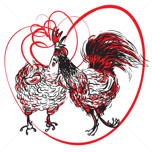 Stock photo: Love the Cock and Hen