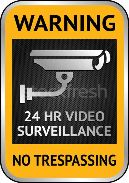 Cctv videó megfigyelés címke figyelmeztetés matrica Stock fotó © Ecelop