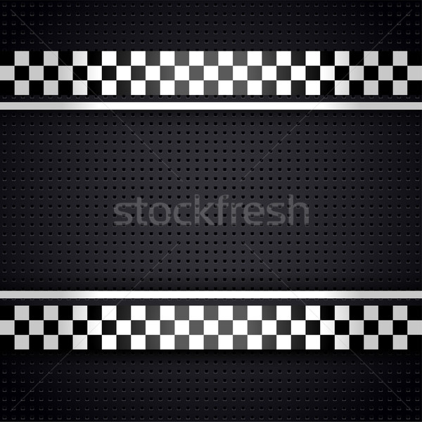 Stock photo: Structured metallic perforated for race sheet gray template