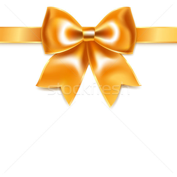 Golden bow of silk ribbon, isolated on white background Stock photo © Ecelop