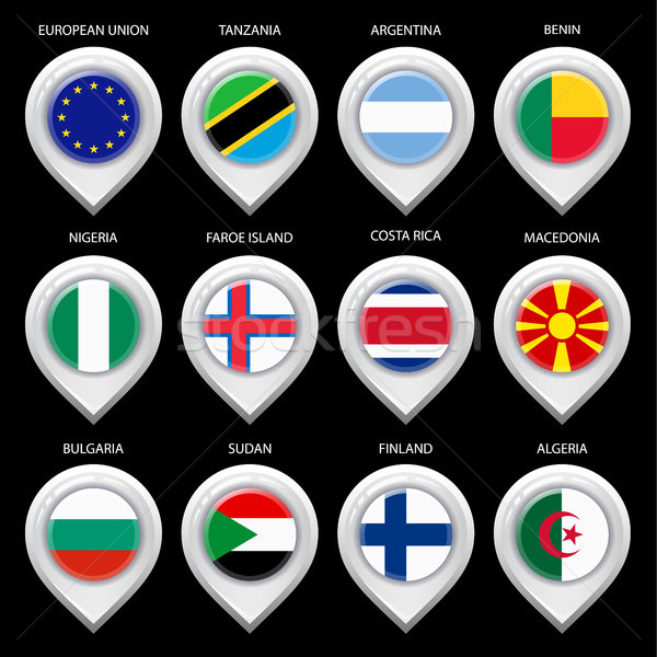 Map marker with flag-set second Stock photo © Ecelop