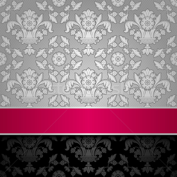 seamless decorative background silver with a pink ribbon Stock photo © Ecelop