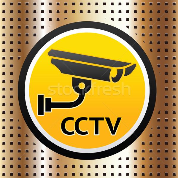 Vídeo observação símbolo dourado textura metal Foto stock © Ecelop