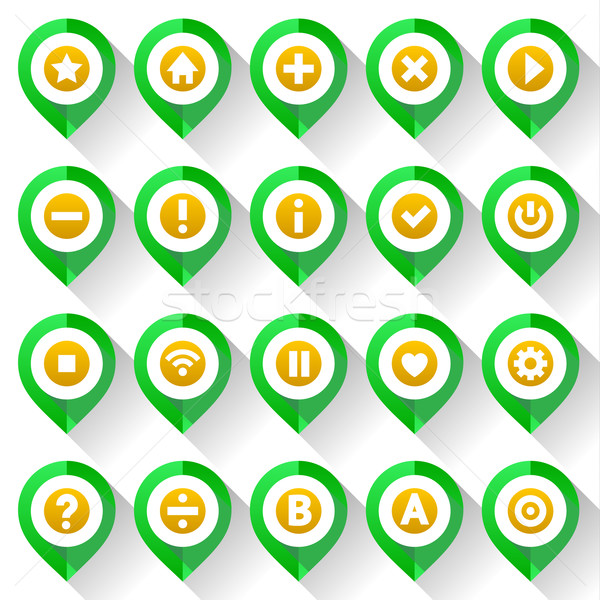 Map pins, folded from green paper Stock photo © Ecelop