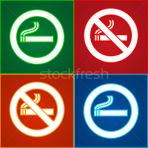 Stickers set - No smoking area labels Stock photo © Ecelop