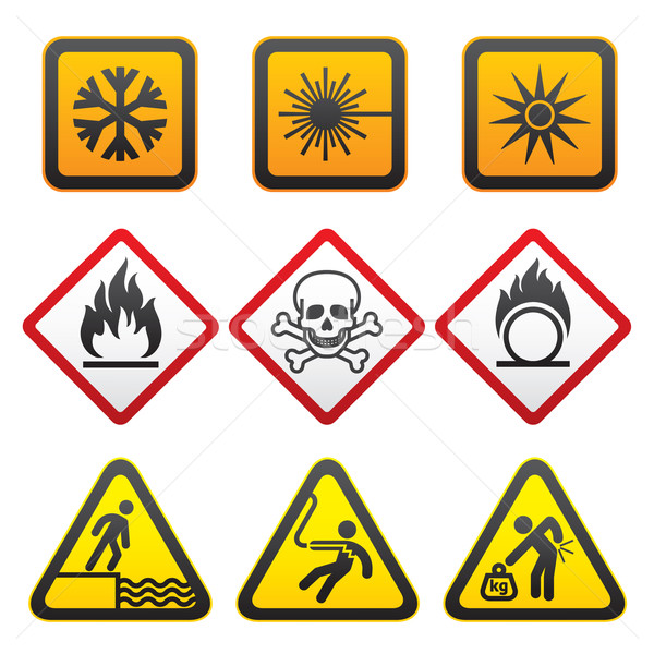 Warning symbols - Hazard Signs-Third set Stock photo © Ecelop