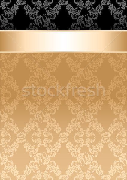 Background, gold ribbon, seamless floral pattern Stock photo © Ecelop
