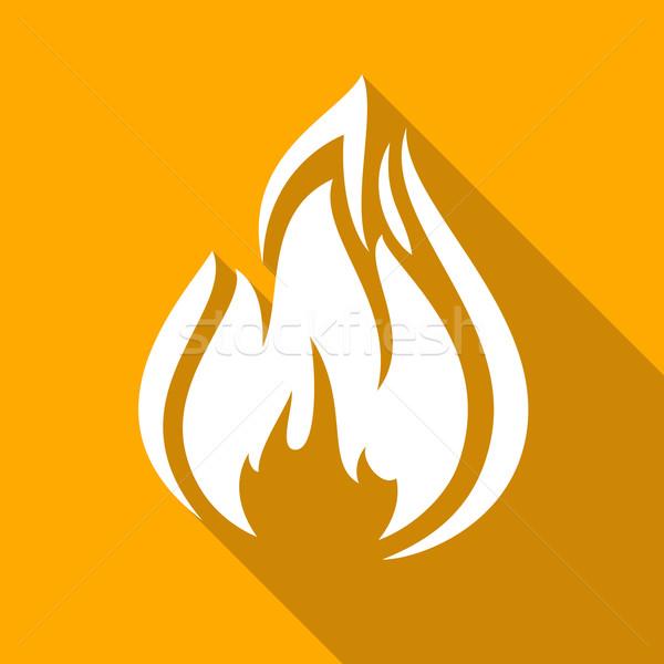 Photo stock: Feu · flammes · icônes · ombre · carré