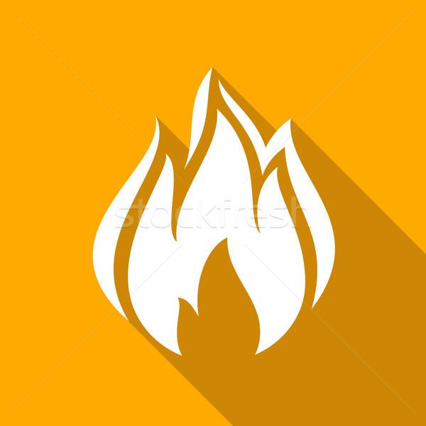 Tűz lángok szett ikonok árnyék tér Stock fotó © Ecelop