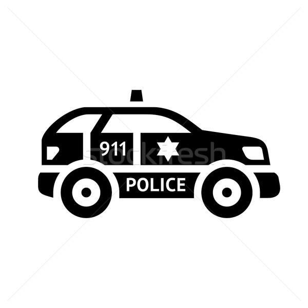 Czarny ikona odizolowany biały samochodu policji Zdjęcia stock © Ecelop