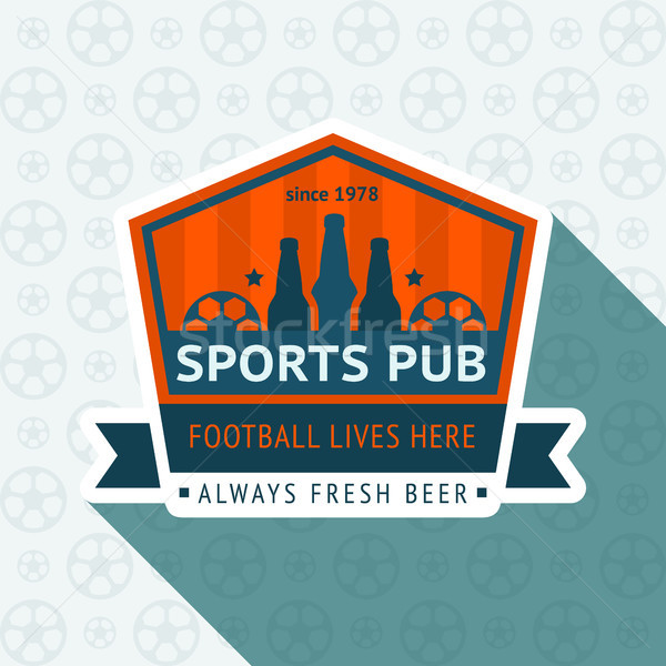 Futebol pub distintivo 10 eps azul Foto stock © Ecelop
