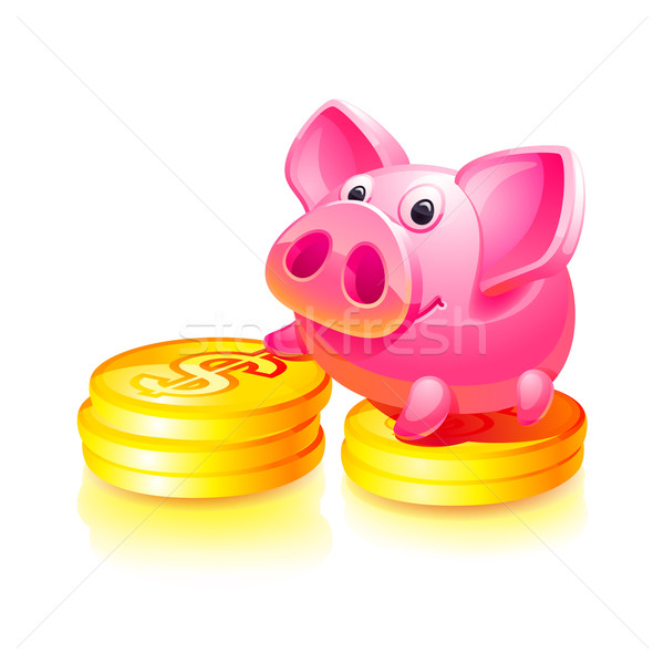Pink piggy bank with gold coins Stock photo © Ecelop