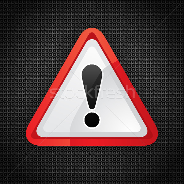 Hazard warning attention symbol on a metal surface Stock photo © Ecelop